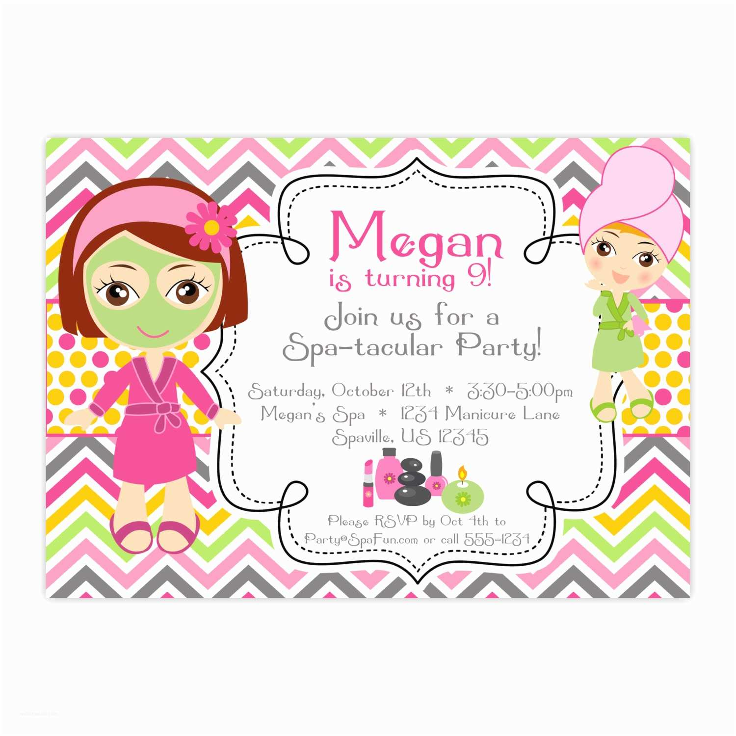 Spa Party Invitations Spa Party Invitation Pink orange Chevron Polka Dots