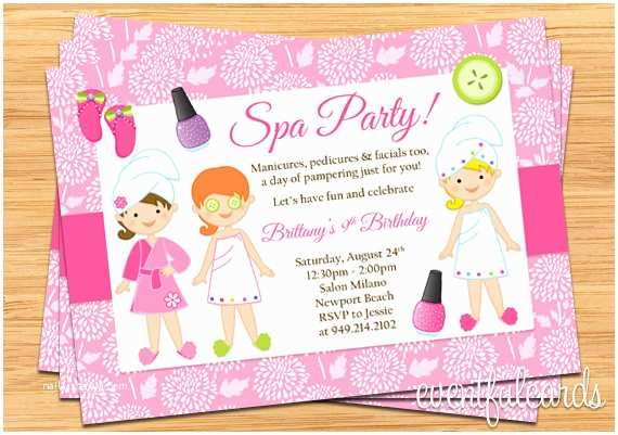 Spa Party Invitations Spa Party Kids Birthday Invitation by eventfulcards
