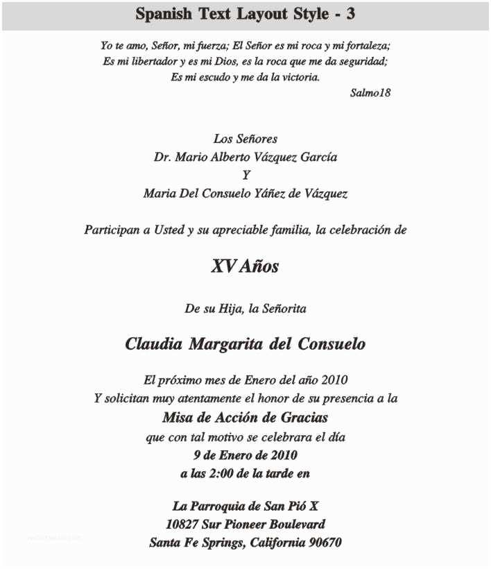 Spanish Wedding Invitation Wording Quinceanera Invitation In Spanish