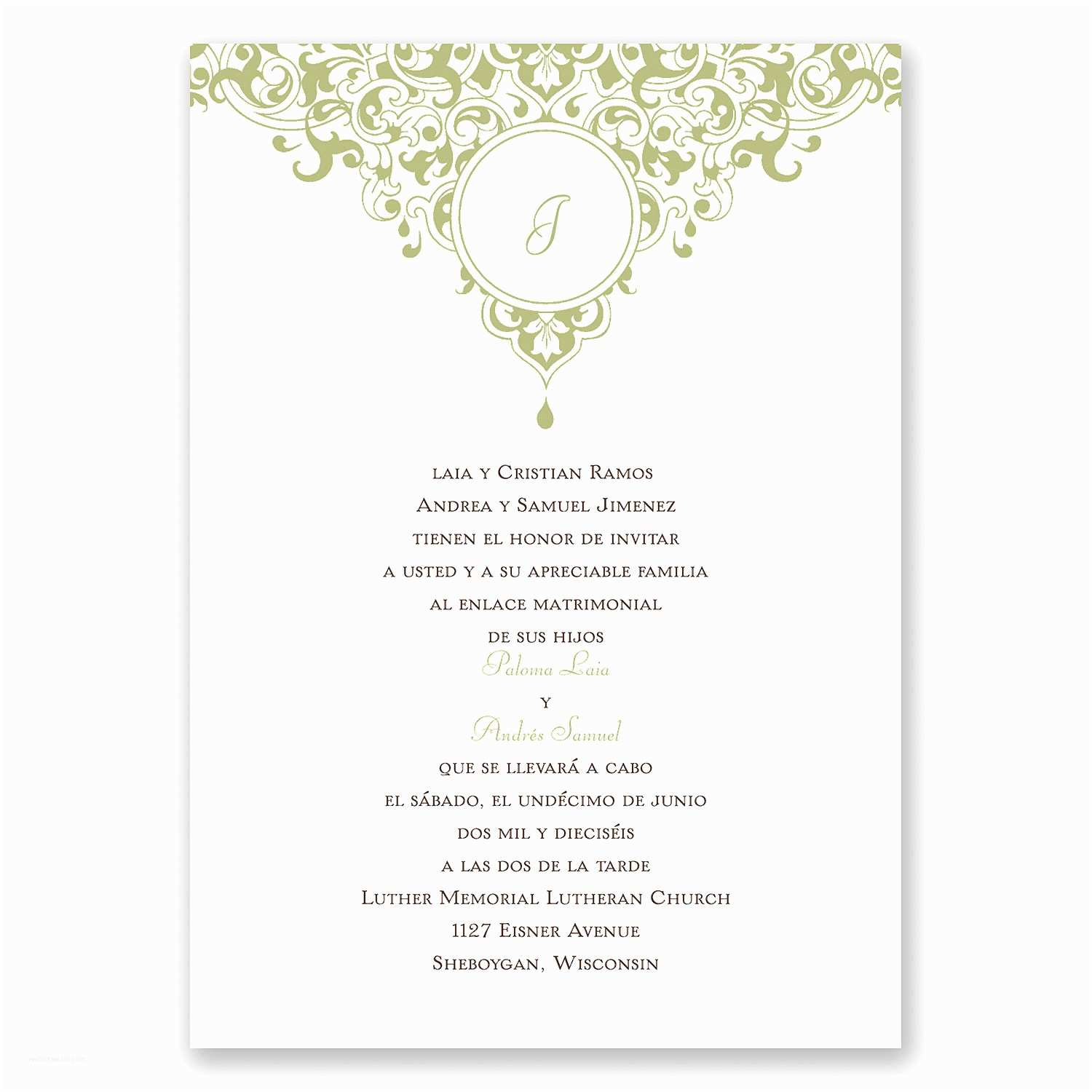 Catholic Wedding Invitation Wording In Spanish