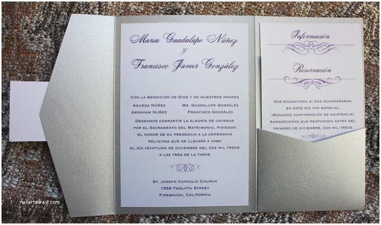Spanish Wedding Invitations Silver Eggplant & Lavender Swirls & Scrolls Spanish