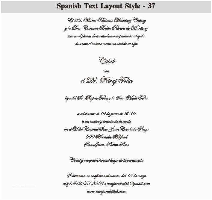 Spanish Wedding Invitations Spanish Wedding Invitation Wording Samples Cobypic