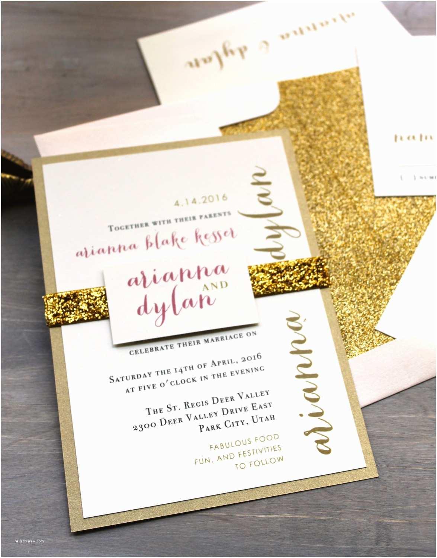 Sparkly Wedding Invitations Glitter Wedding Invitations Gold Glitter Wedding Invitation