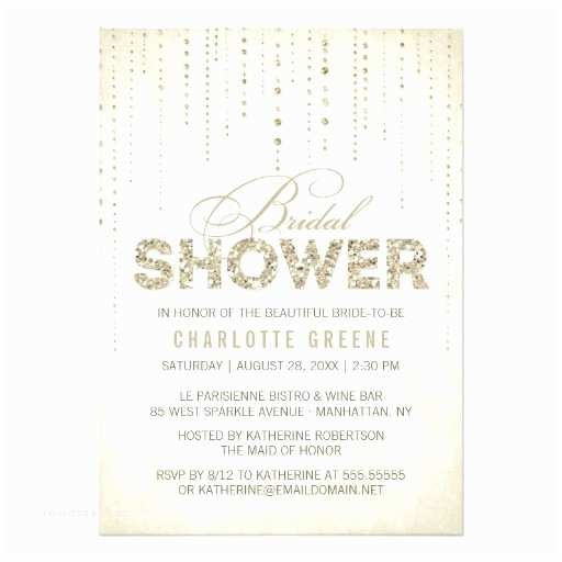 Sparkly Wedding Invitations Gold Glitter Look Bridal Shower Invitation
