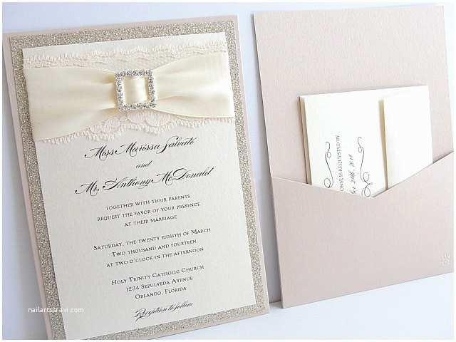 Sparkly Wedding Invitations Lace Wedding Invitations Glitter Wedding Invitations