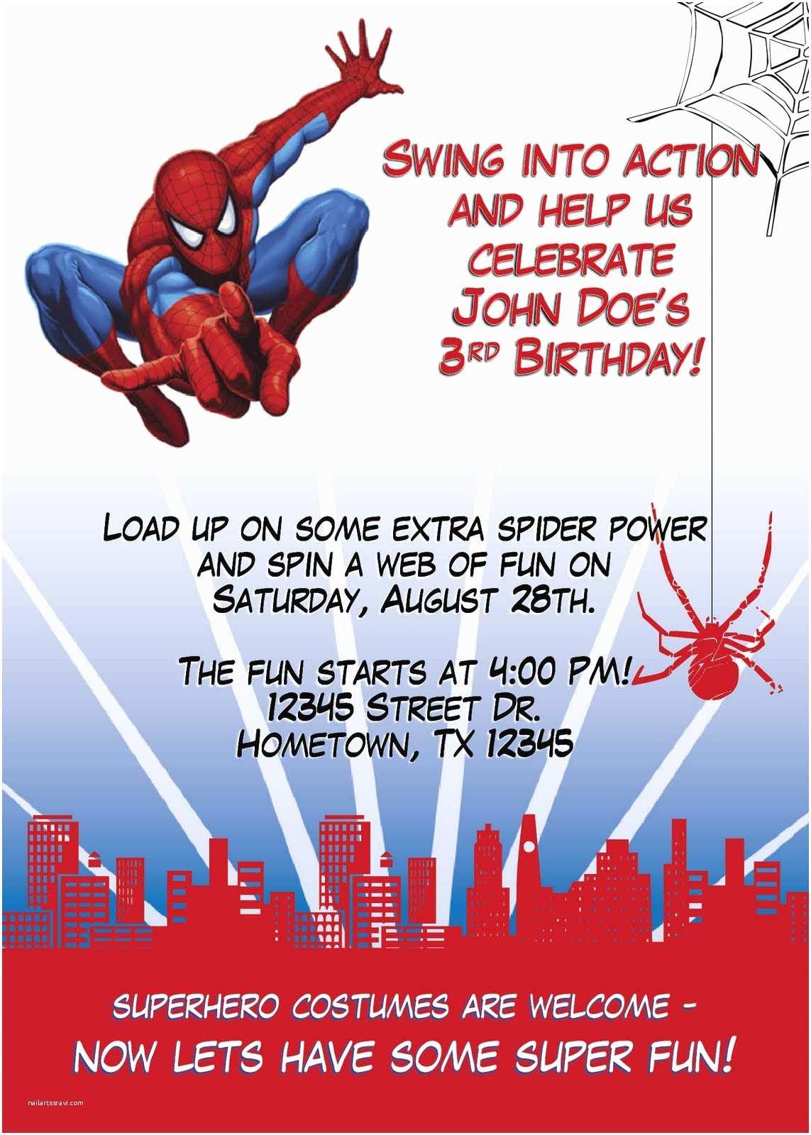 Spiderman Birthday Invitations Leslie Designs Stuff Party Invitation