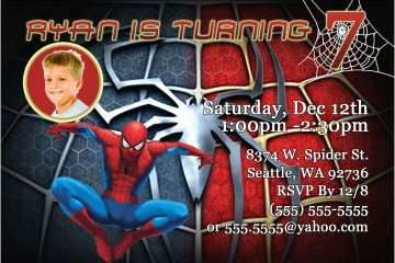 image relating to Printable Spiderman Invitations titled Spiderman Birthday Invites Printable Spiderman Birthday