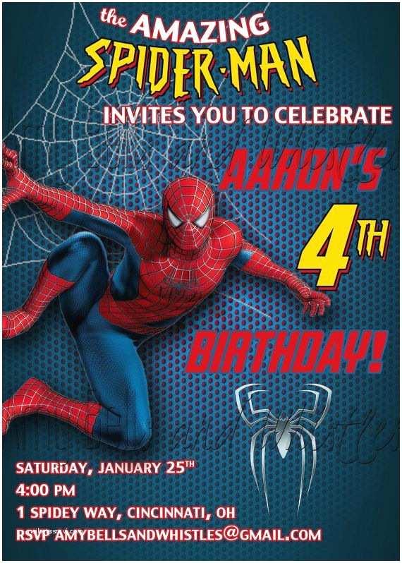 Spiderman Birthday Invitations Spiderman Birthday Invitation Custom Personalized