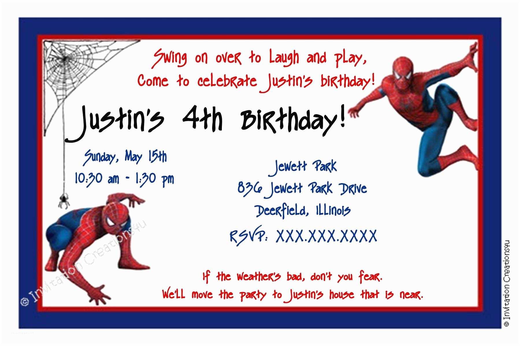 Spiderman Birthday Invitations Party Templates