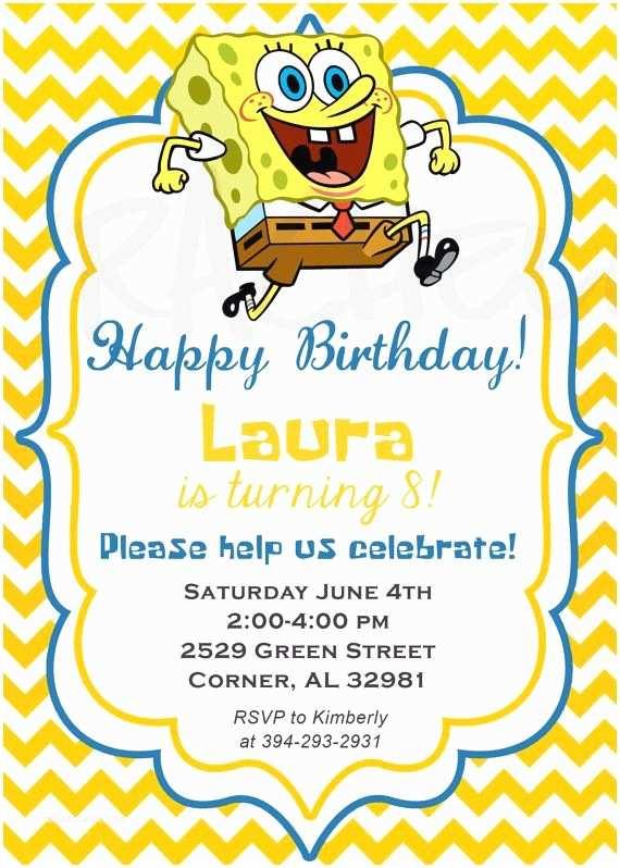 Spongebob Birthday Invitations 39 Best Images About Spongebob Party On Pinterest
