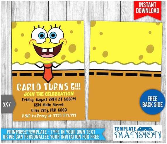 Spongebob Birthday Invitations 7 Best Invitation Printables Images On Pinterest