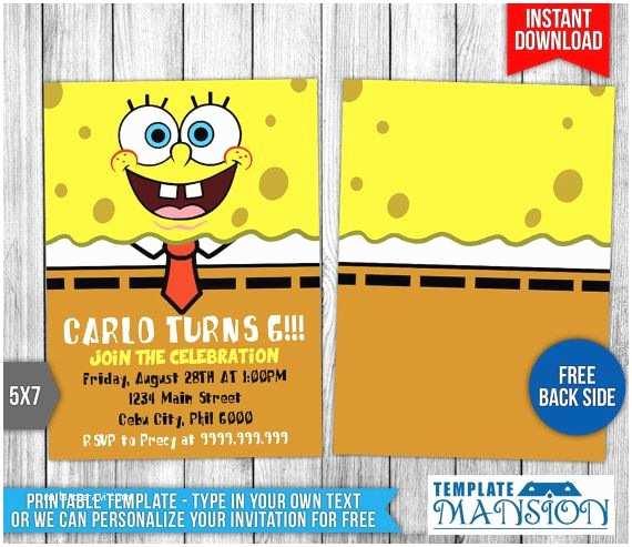 spongebob invitation printables