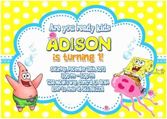 Spongebob Birthday Invitations Party Invitation
