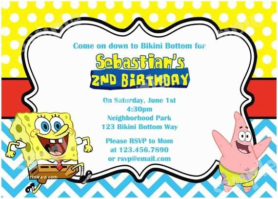 Spongebob Birthday Invitations Chevron Invitation Diy Digital