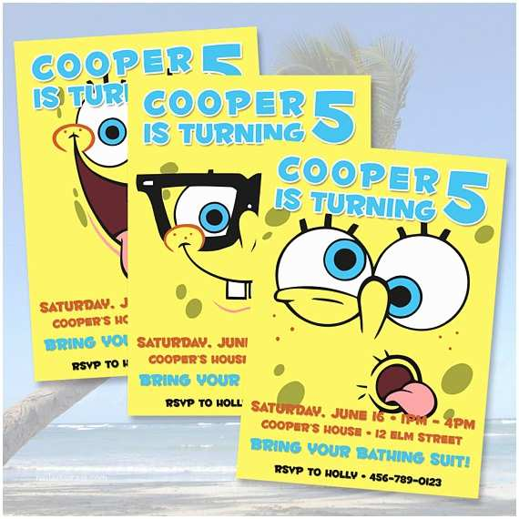 Spongebob Birthday Invitations Spongebob Squarepants Birthday Invitations by