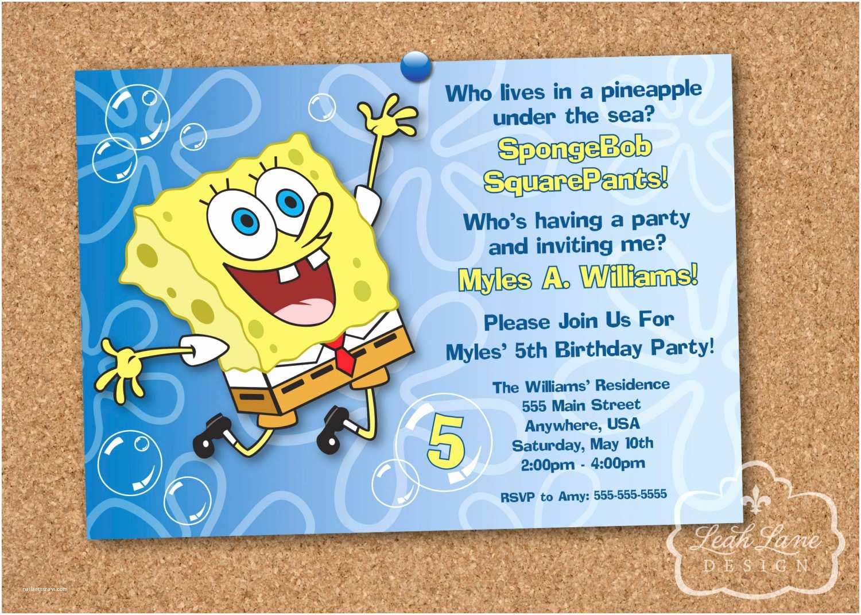 Spongebob Birthday Invitations Spongebob Squarepants Birthday Party Printable Invitation