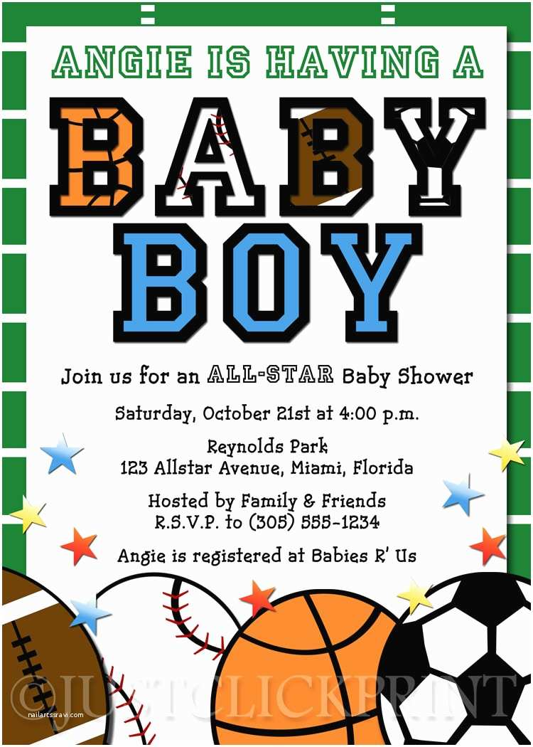Sports Baby Shower Invitations All Star Sports Baby Boy Shower Invitation Printable