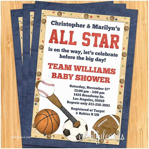 Sports Baby Shower Invitations All Star Sports Baby Shower Invitation by eventfulcards
