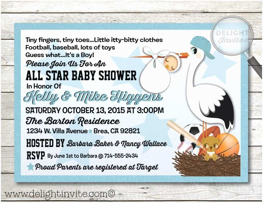 Sports Baby Shower Invitations All Star Sports Baby Shower Invitation [di 4515] Custom