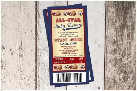Sports Baby Shower Invitations All Star themed Baby Shower Invitation All Sports Ticket