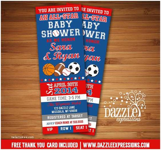 Sports Baby Shower Invitations Printable All Star Sports Ticket Baby Shower Invitation