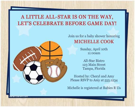 Sports Baby Shower Invitations Sports Baby Shower Invitation Baseball by theinviteladyshop