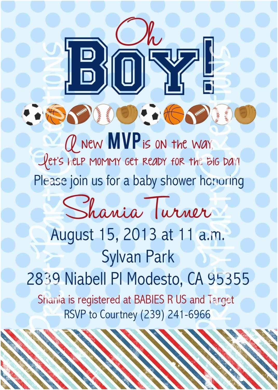 Sports Baby Shower Invitations Sports Baby Shower or Birthday Invitation You Print
