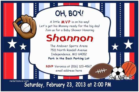 Sports Baby Shower Invitations Sports themed Baby Shower Ideas