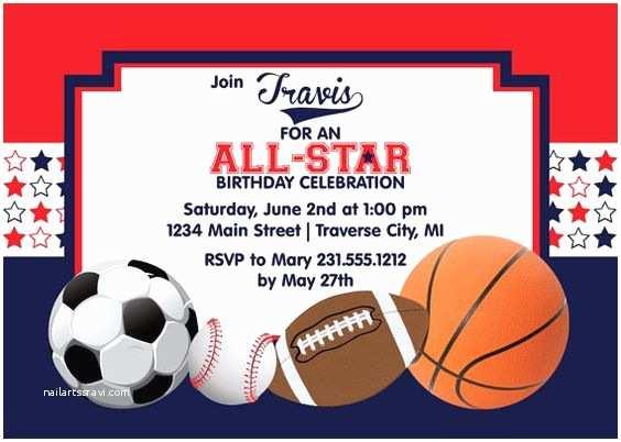 Sports Birthday Invitations All Star Birthday Invitation Printable Sports Boys