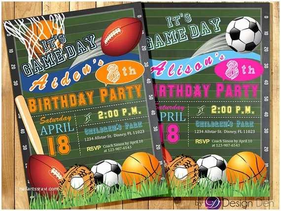 Sports Birthday Invitations All Star Invitation Sports theme Boys or Girls Sports