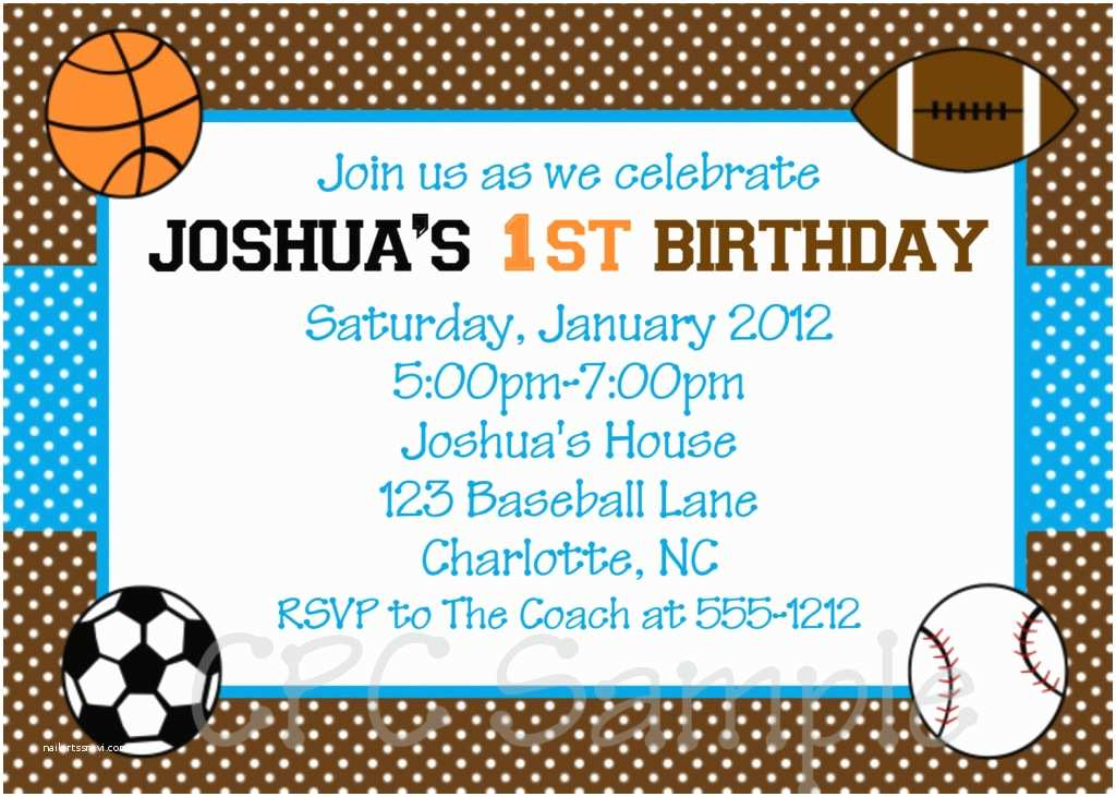 Sports Birthday Invitations Charming Sports Birthday Invitations for Kids with Blue