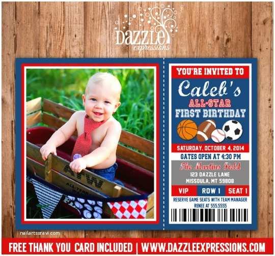 Sports Birthday Invitations Printable All Star Sports Ticket Birthday Invitation