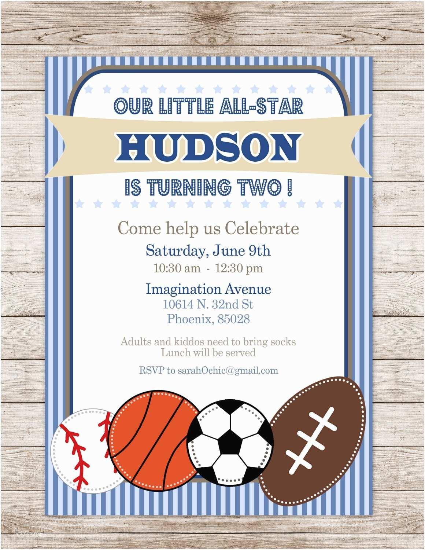 Sports Birthday Invitations Printable Sports Birthday Party Invitation Sarah O by