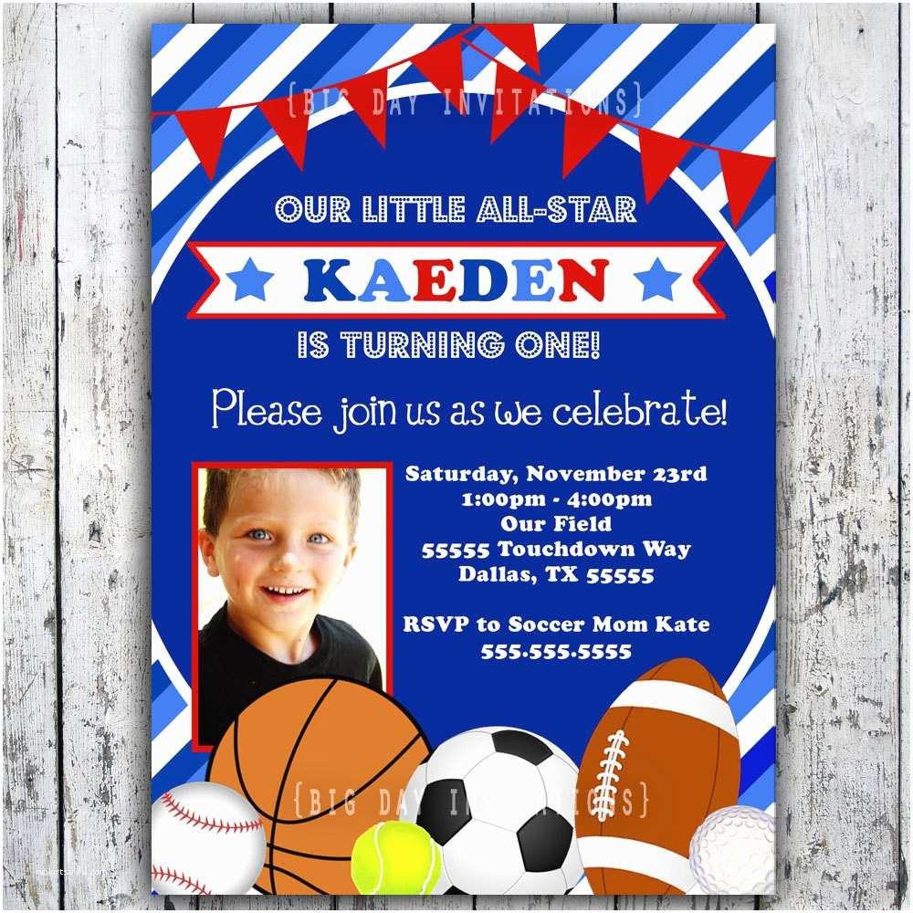 Sports Birthday Invitations Sports Birthday Invitation Printable by Bigdayinvitations
