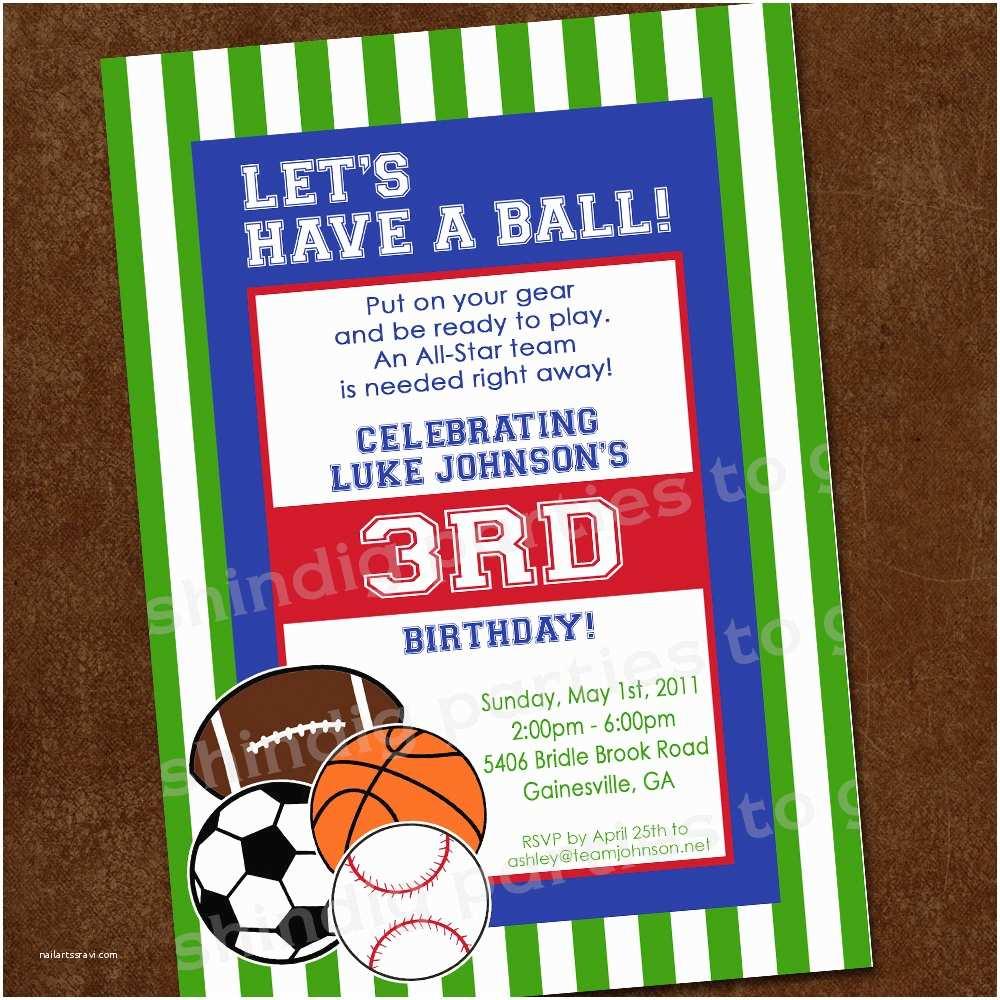 Sports Birthday Invitations Sports Birthday Invitation Sports Party Invitation 1st