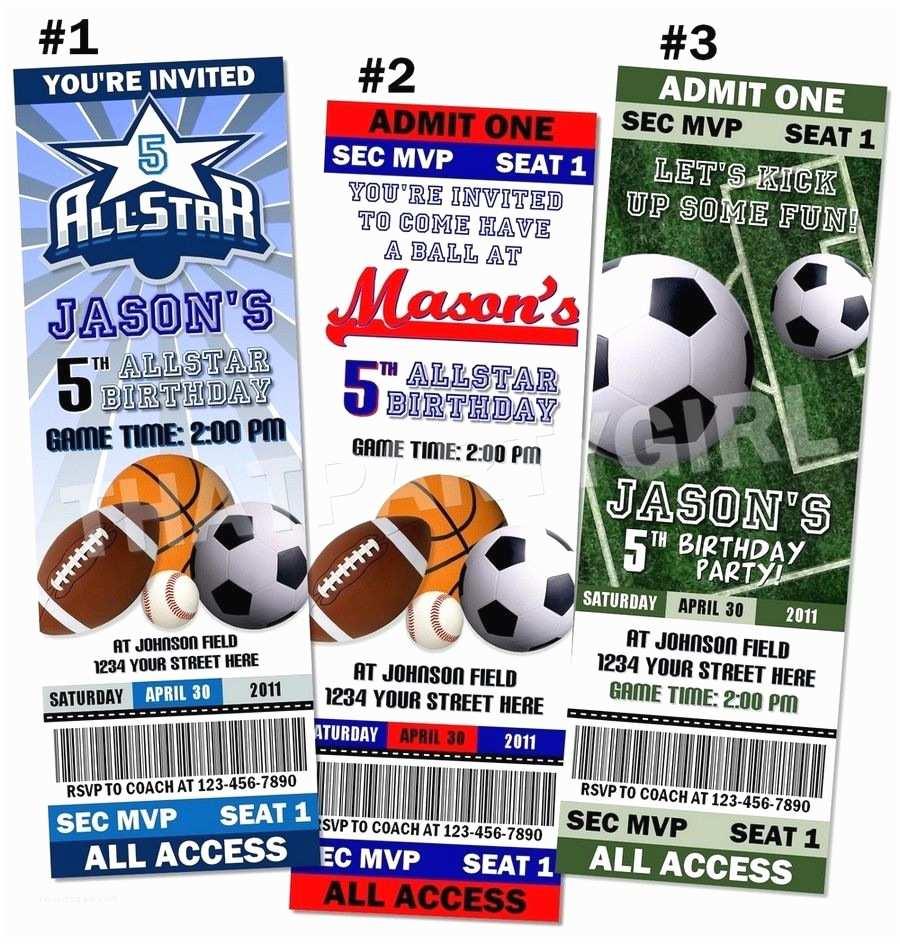 Sports Birthday Invitations Sports Birthday Party Ticket Style Invitations