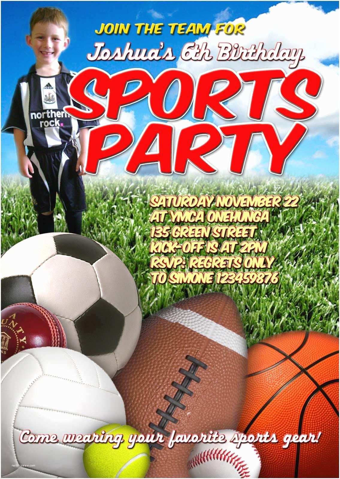 Sports Birthday Invitations Sports themed Birthday Invitations – Gangcraft