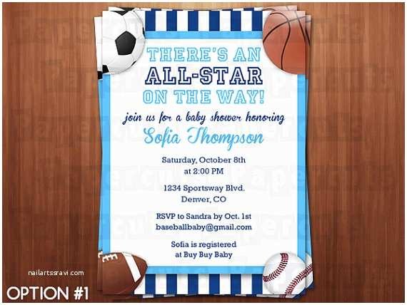 Sports themed Baby Shower Invitations All Star Sports theme Baby Shower Party Invitation