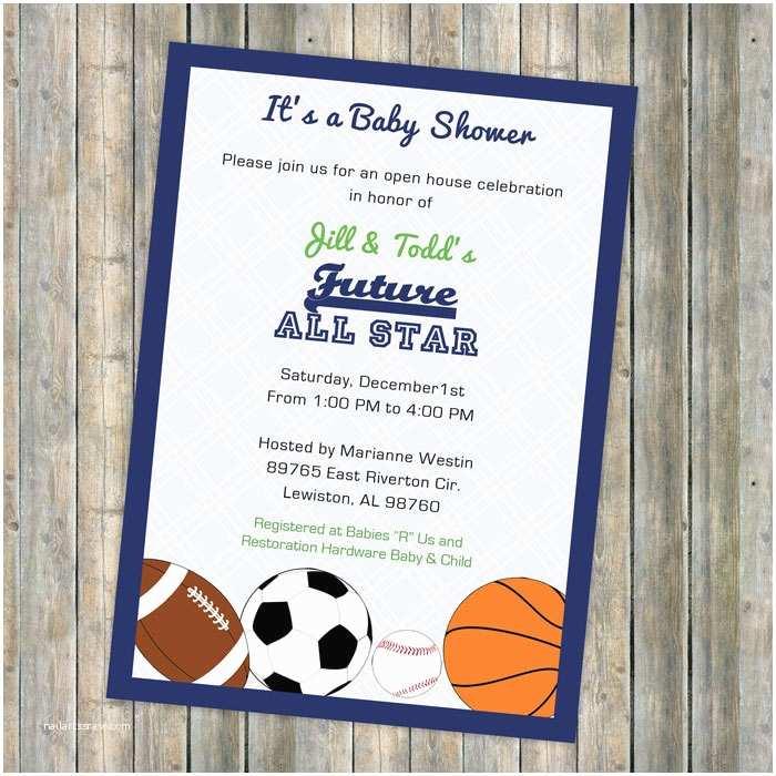Sports themed Baby Shower Invitations Baby Boy Shower Invitations All Star Invite Sports themed