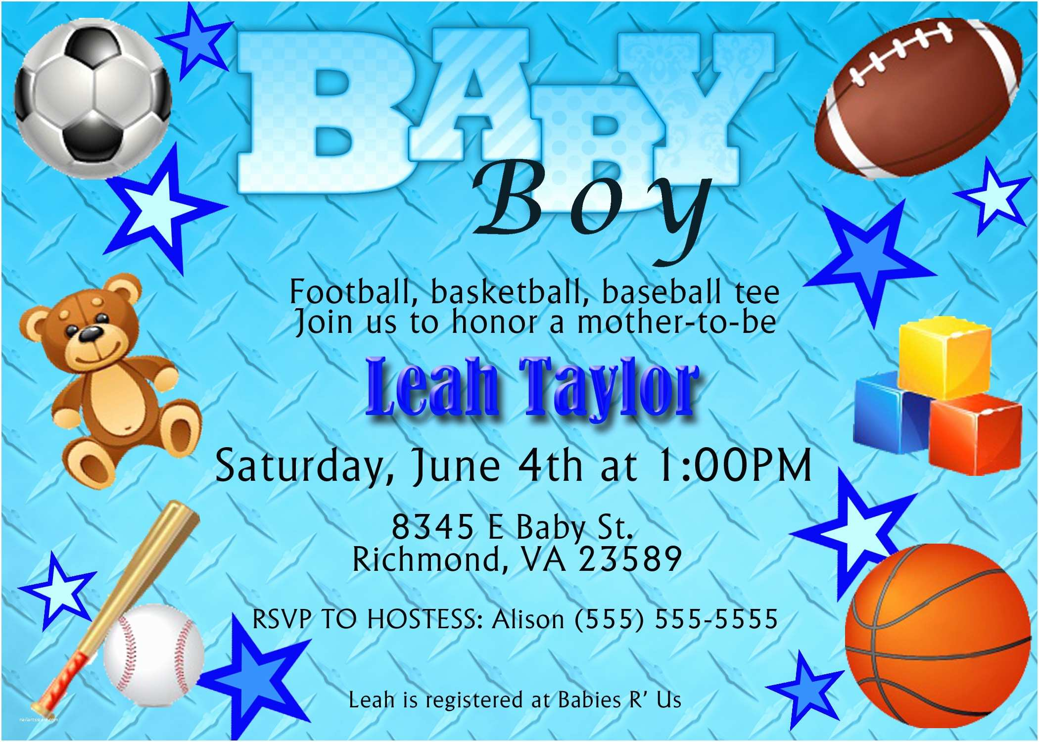 Sports themed Baby Shower Invitations Free Printable Baby Shower Invitations for Boys