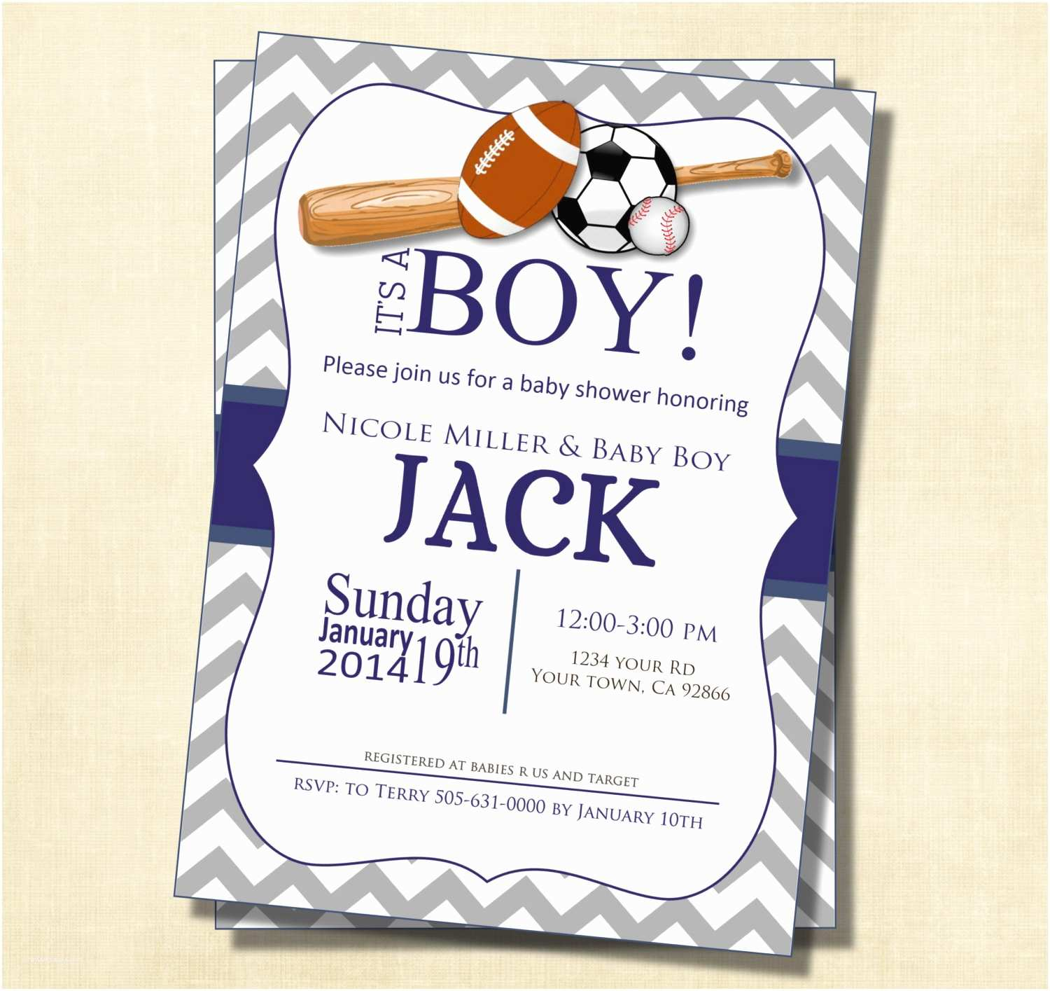 Sports themed Baby Shower Invitations Gray and Blue Chevron Sports theme Baby Shower Invitation