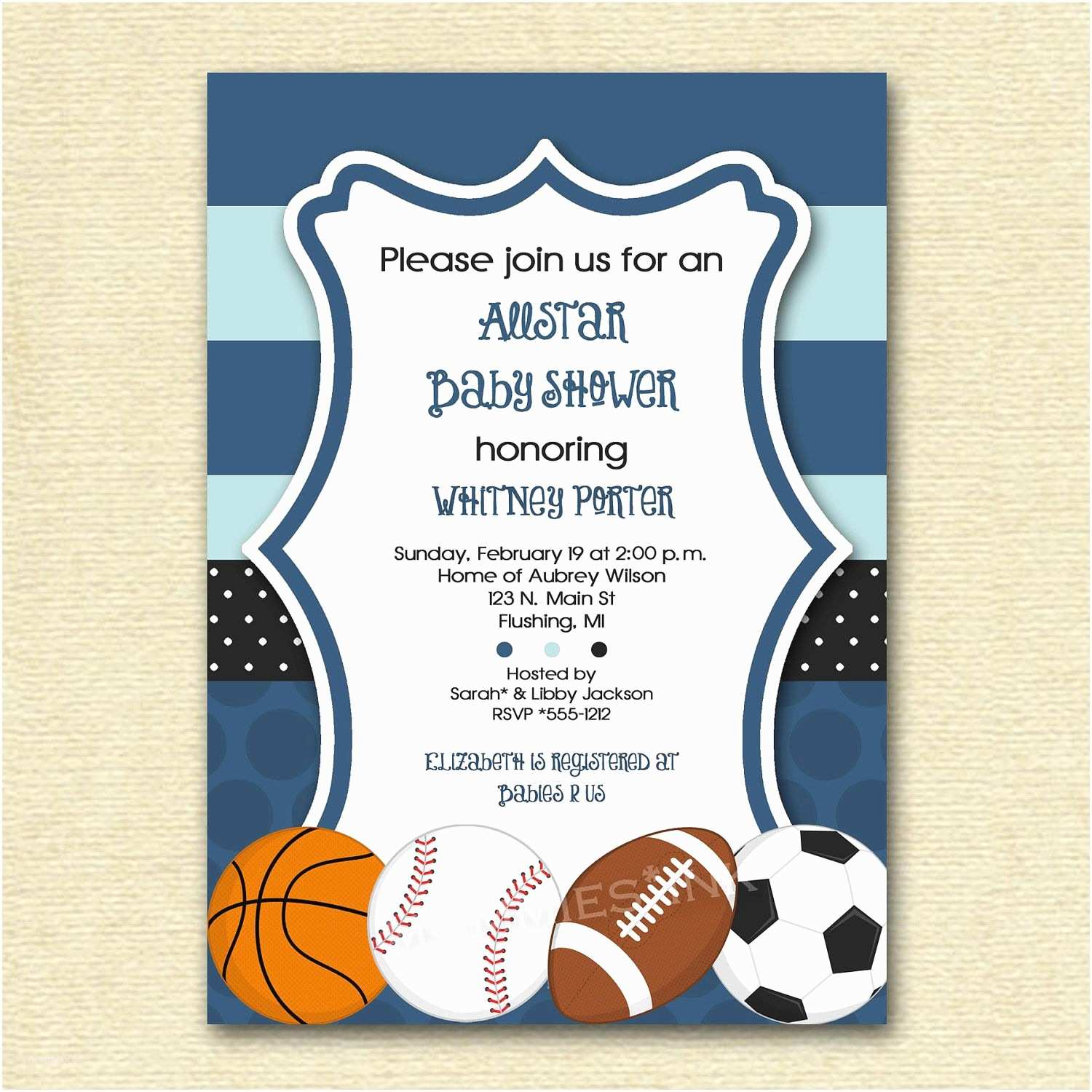 Sports themed Baby Shower Invitations Mod Allstar Sports theme Baby Shower or Birthday Party
