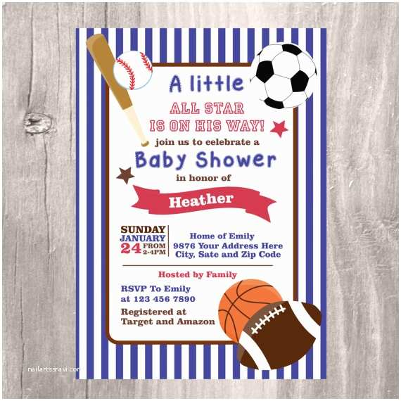 Sports themed Baby Shower Invitations Sports Baby Shower Invitation Printable Blue Baby Shower