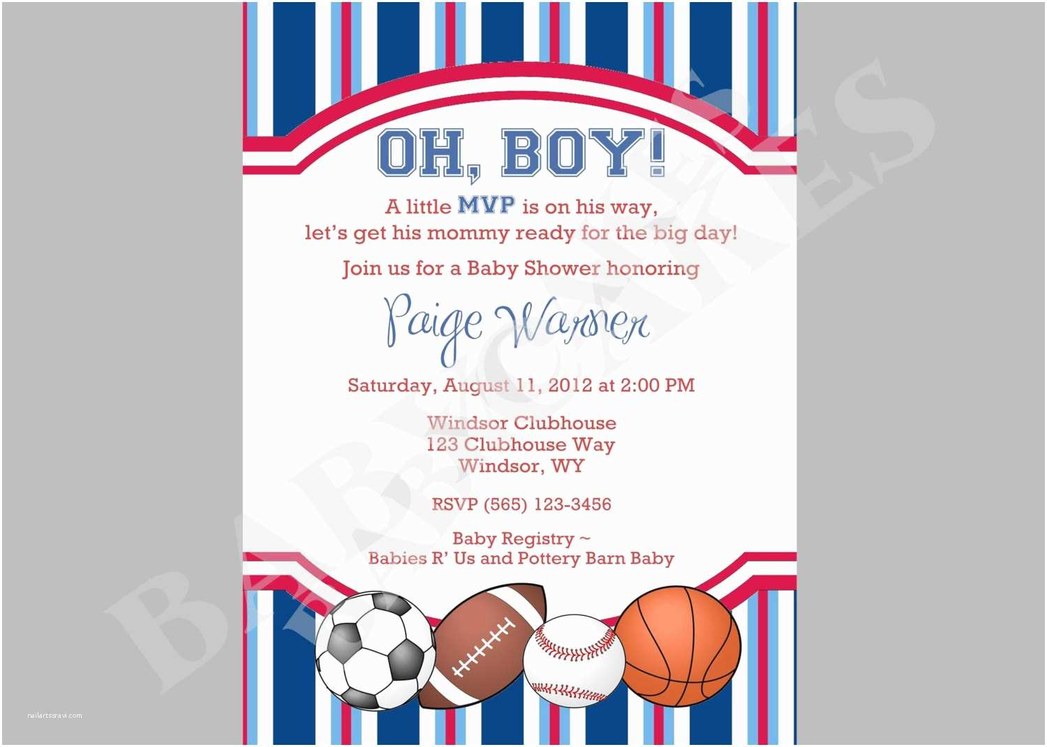 Sports themed Baby Shower Invitations Sports theme Baby Shower Invitation Diy Print Your by