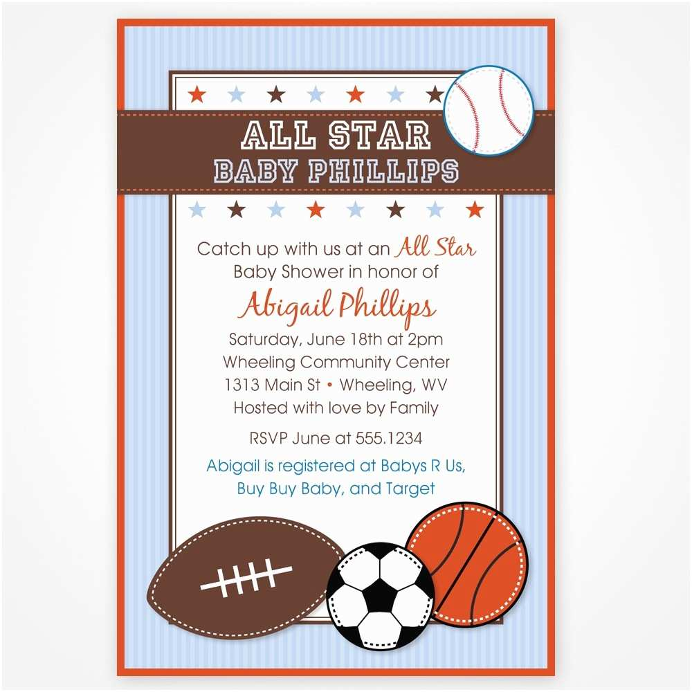 sports theme baby shower invitations