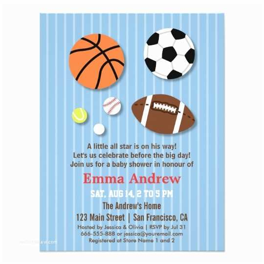 Sports themed Baby Shower Invitations Sports themed Baby Shower Invitations
