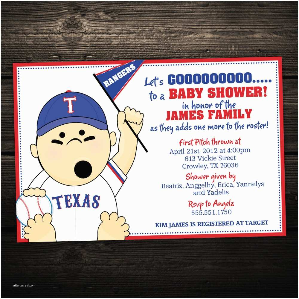 Sports themed Baby Shower Invites Baseball Baby Shower Invitations Sports or Tailgate themed