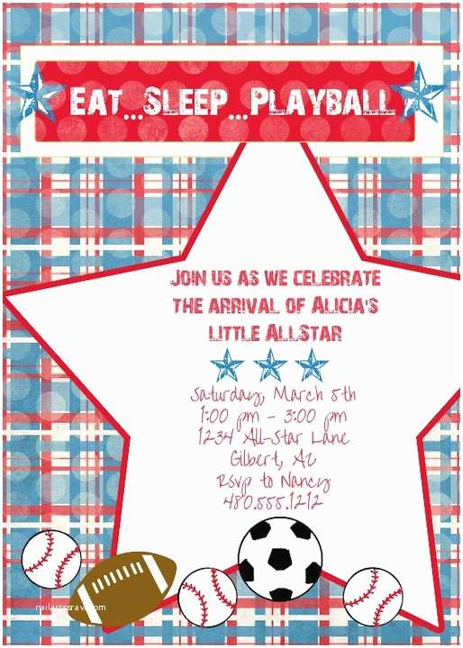 Sports themed Baby Shower Invites Frog Prince Sports themed Baby Shower