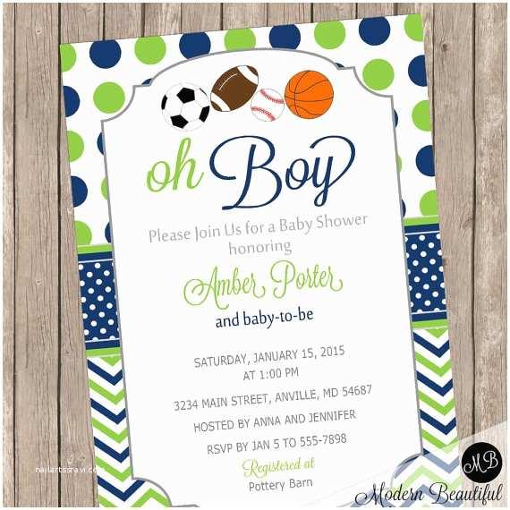 Sports themed Baby Shower Invites Oh Boy Sports theme Baby Shower Invitation Navy and Lime
