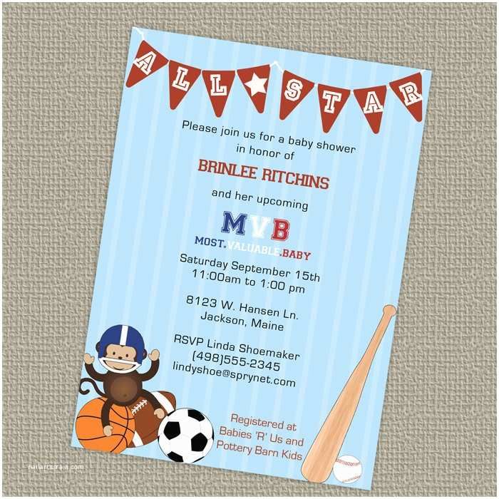 Sports themed Baby Shower Invites Sports themed Baby Shower Invitation All Star Invite Mvb